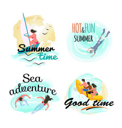 Summer time and sea adventure good time vector