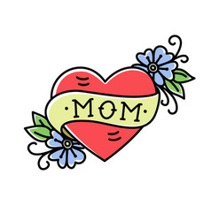 tattoo with mom inscription in heart shape vector image
