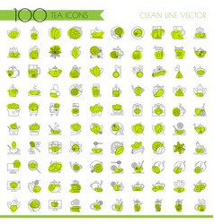 Tea line icon set lined icon about cup vector