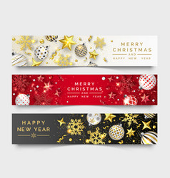 Three christmas horizontal banners with shining vector