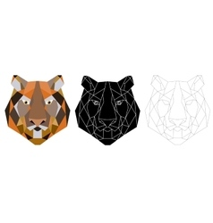 Tiger head triangular icon geometric trendy vector