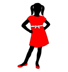 Toddler girl in red dress posing silhouette vector