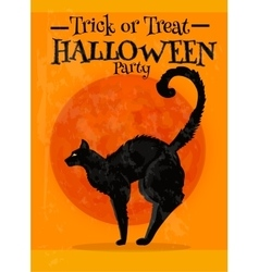 Trick or treat halloween party poster with text vector
