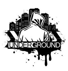 urban style man in hoodie behind vector image