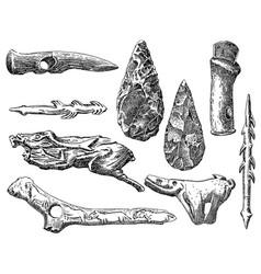 Vintage engraving set prehistoric stone vector