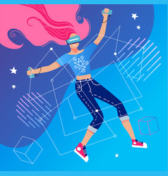 virtual reality concept with a girl interacting vector image