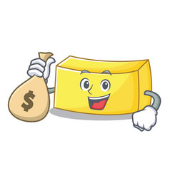 With money bag butter character cartoon style vector