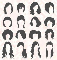 Womans Hair Style Silhouettes vector