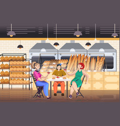 women drinking coffee in bakery friends discussing vector image