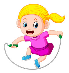 Young girl skipping vector