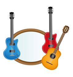 colorful silhouette with guitars set electric and vector image vector image