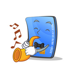 credit card character cartoon with trumpet vector image