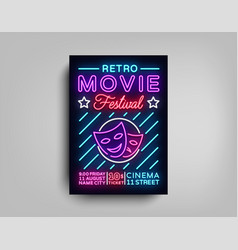 retro movie festival postcard typography design vector image