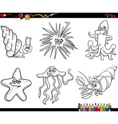 Sea life animals cartoon coloring page vector