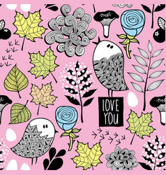 seamless pattern with small birds in the forest vector image