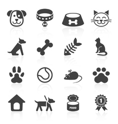 Trendy pet icons isolated on white vector image
