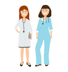 two women gay doctor in hospital vector image vector image