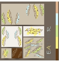 Vintage hand drawn native tribal boho feather vector