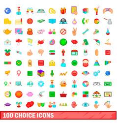 100 choice icons set cartoon style vector image vector image
