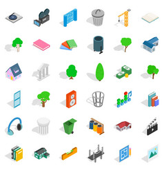 Comfortable house icons set isometric style vector