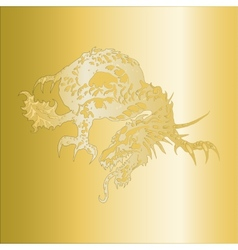 dragon pattern embossed on a gold plate vector image