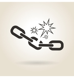 icon broken chain vector image