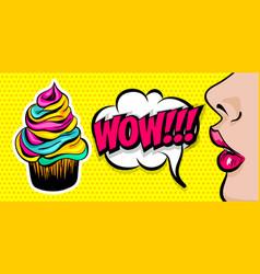 summer comic text woman girl pop art vector image vector image