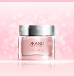 beauty cream on pink bubbles background skin care vector image vector image