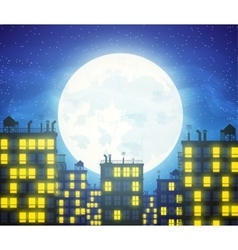 city skylines with cloudy moonlight vector image vector image