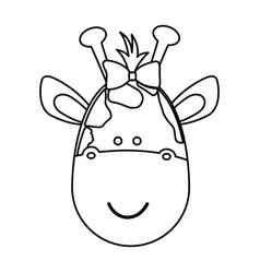 Figure face giraffe ribbon bow head icon vector