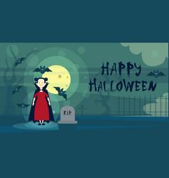 happy halloween greeting card dracula vampire at vector image