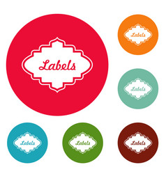 label icons circle set vector image vector image