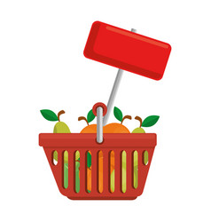 shopping basket with fruits and label vector image vector image