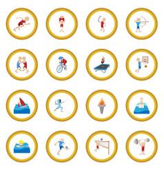 summer sport cartoon icon circle vector image