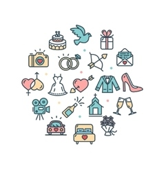 Wedding Round Design Template Thin Line Icon vector image