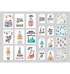 Christmas card and gift tag patterns set vector image