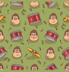 seamless pattern with monkey and drums vector image vector image
