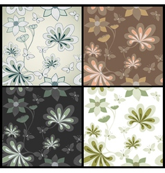 Set seamless floral pattern vector image vector image