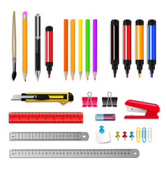 stationery realistic set vector image vector image