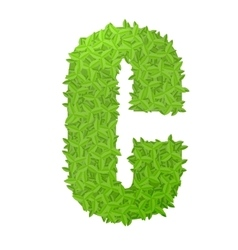 Uppecase letter C consisting of green leaves vector image vector image
