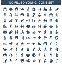 100 young icons vector