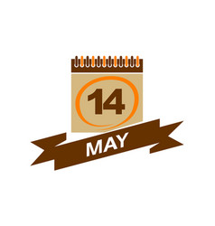 14 may calendar with ribbon vector