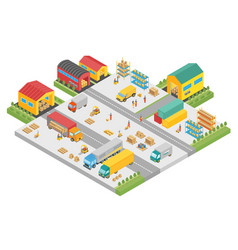 3d isometric process of the big warehouse company vector image