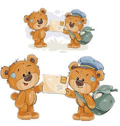 A brown teddy bear postman vector