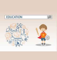 A little boy with shield sword and education vector