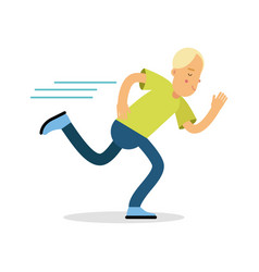 Active boy teenager running cartoon character vector