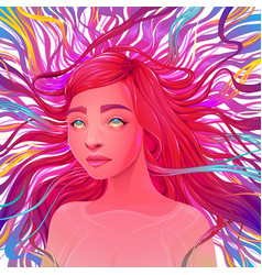 Aesthetic ecstatic portrait of a beautiful woman vector