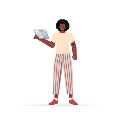 African american woman reading daily news on vector