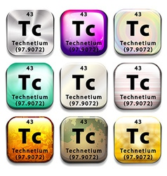 An icon showing the chemical technetium vector