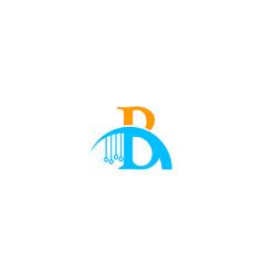 b letter tech logo vector image